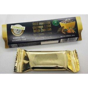 Földi mandulás csemege szelet belga csokiban, homoktövissel ízesítve